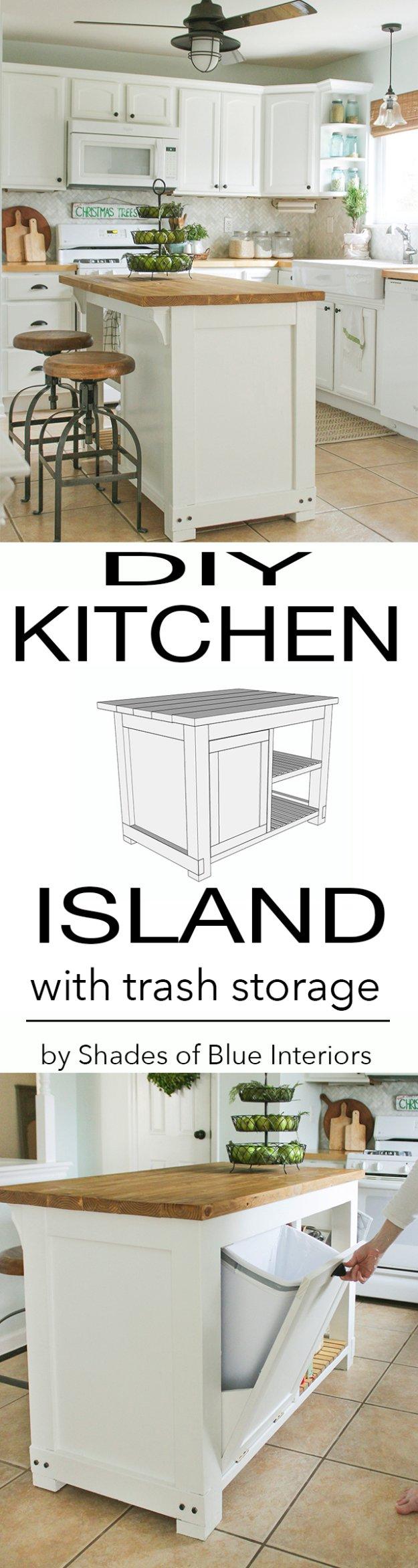 diy kitchen decor ideas diy kitchen ideas DIY Kitchen Decor Ideas DIY Kitchen Island With Trash Storage Creative Furniture Projects