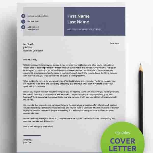 Editable Resume Template - Slate Blue -Double Page CV Resume PDF
