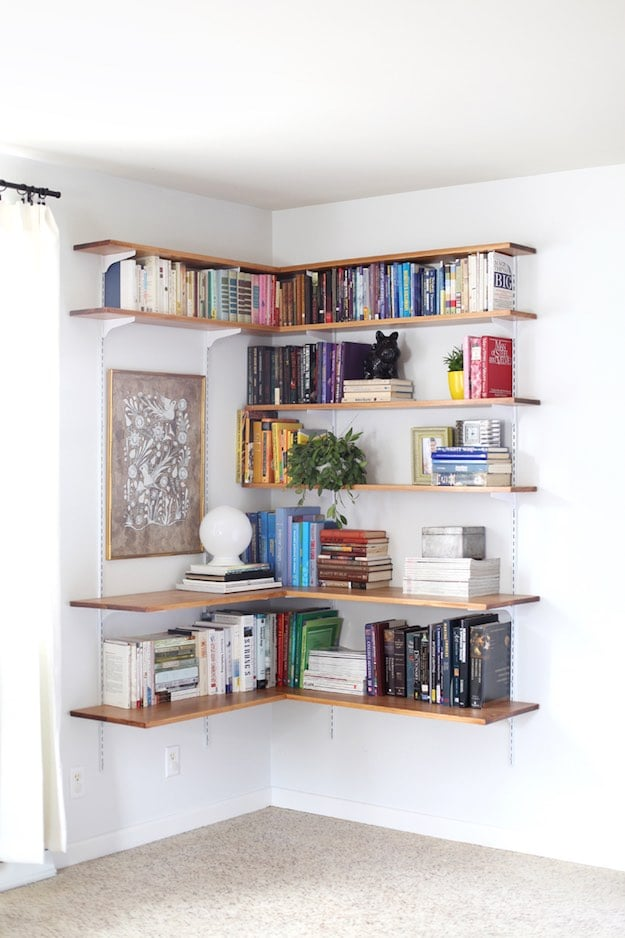 13 Simple Living Room Shelving Ideas DIY Projects - living room shelves