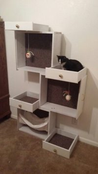 Build a unique and inexpensive cat tree using old drawers ...