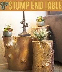 Golden Tree Stump End Table   How to Build a Table DIY Ready
