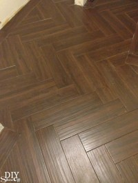 Laundry Room Herringbone Pattern Tile Floor Details