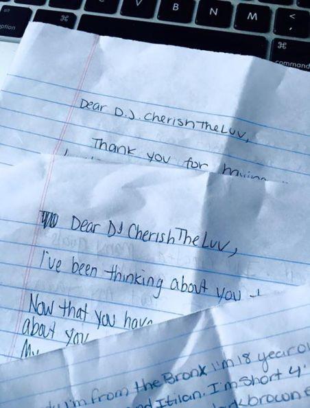 Pen pal letters from inmates to DJ CherishTheLuv