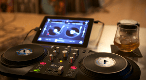 iPad + djay app + iDJ Live, by Scott Schiller