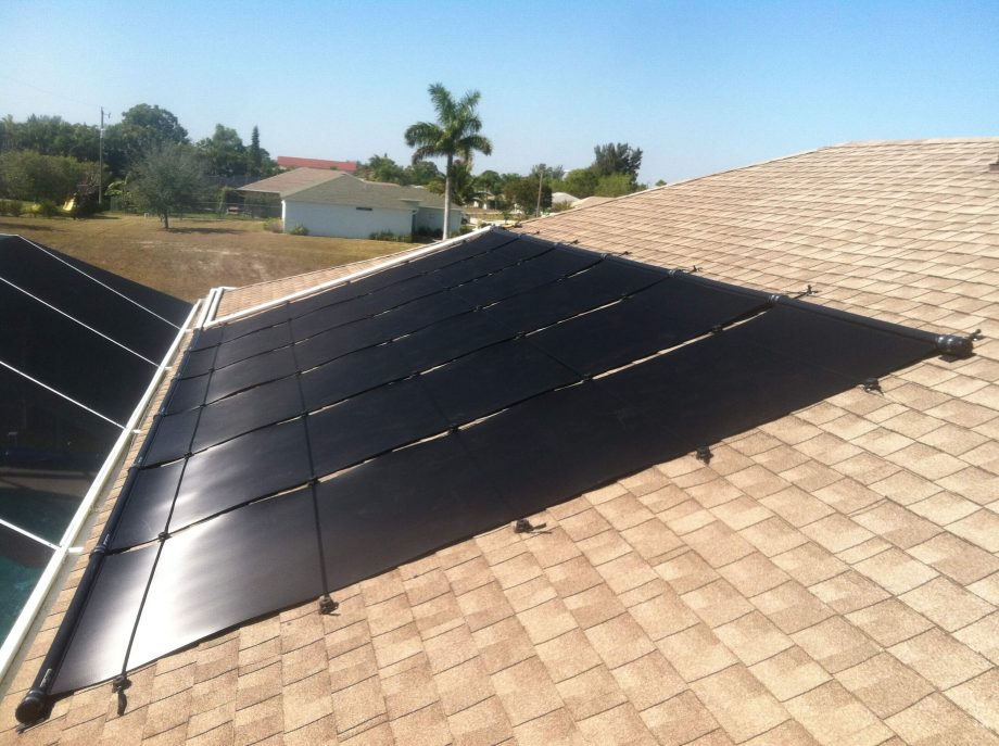 Solar Pool Heating Panels On Shingle Roof In Cape Coral Fl