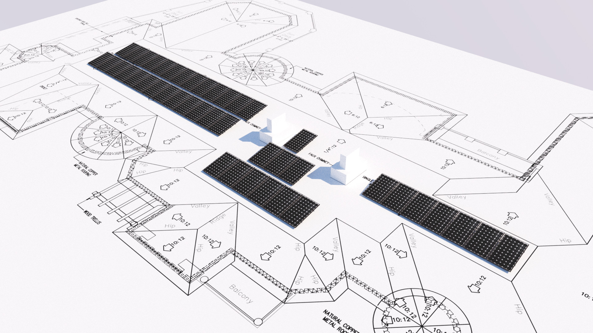 Showing Solar Panels On Architectural Drawings