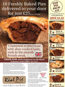 Off the page advertising, response advertising, Real Pie Off the Page Ad, Real Pie Advertising, Inserts, Insert Creative