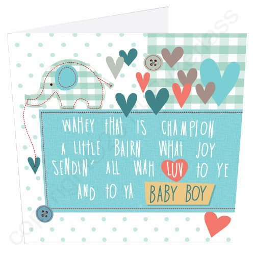 Geordie Poetry Card - New Baby Boy - North East Gifts