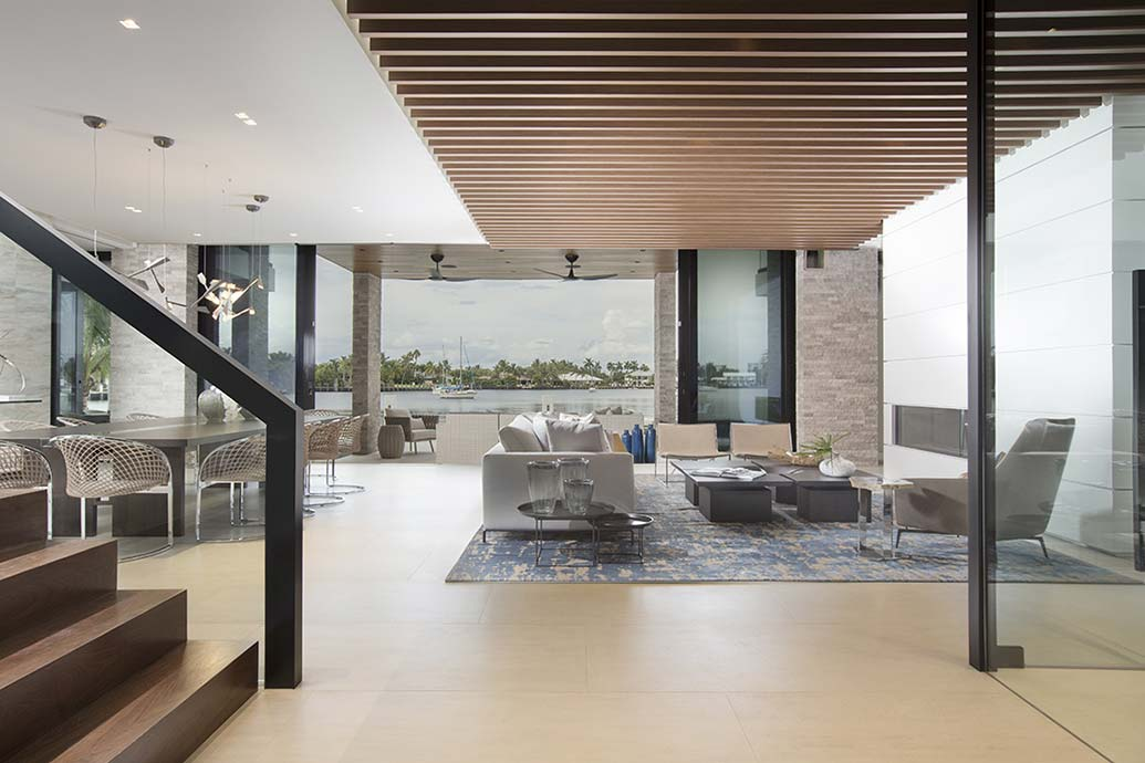 Family Room Chandelier Ft. Lauderdale Contemporary Waterfront Home Reveal