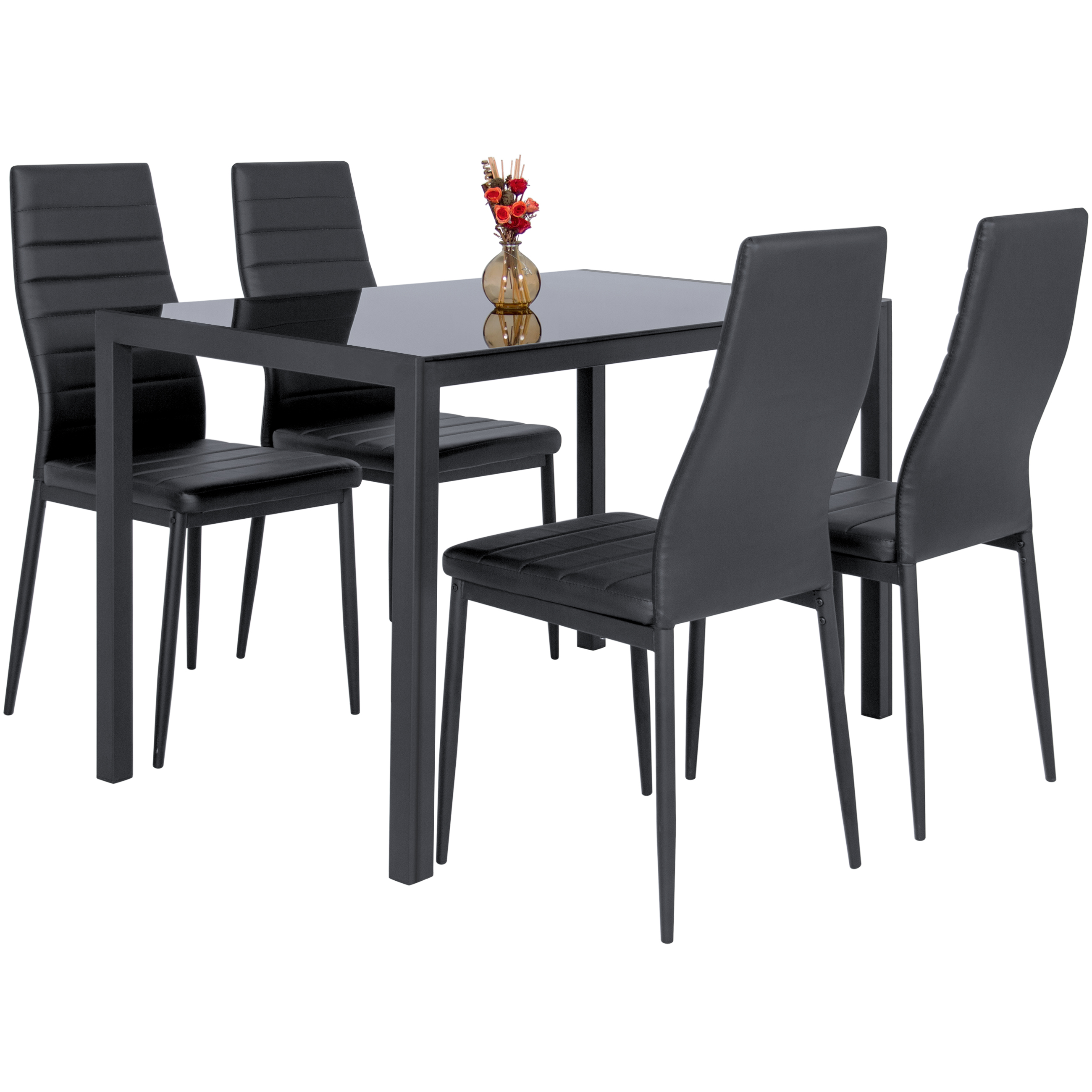 5 Piece Kitchen Dining Table Set W Glass Top And 4 Leather