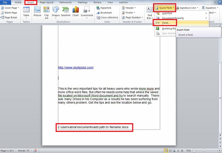 How to add path to file name on Microsoft Word document?