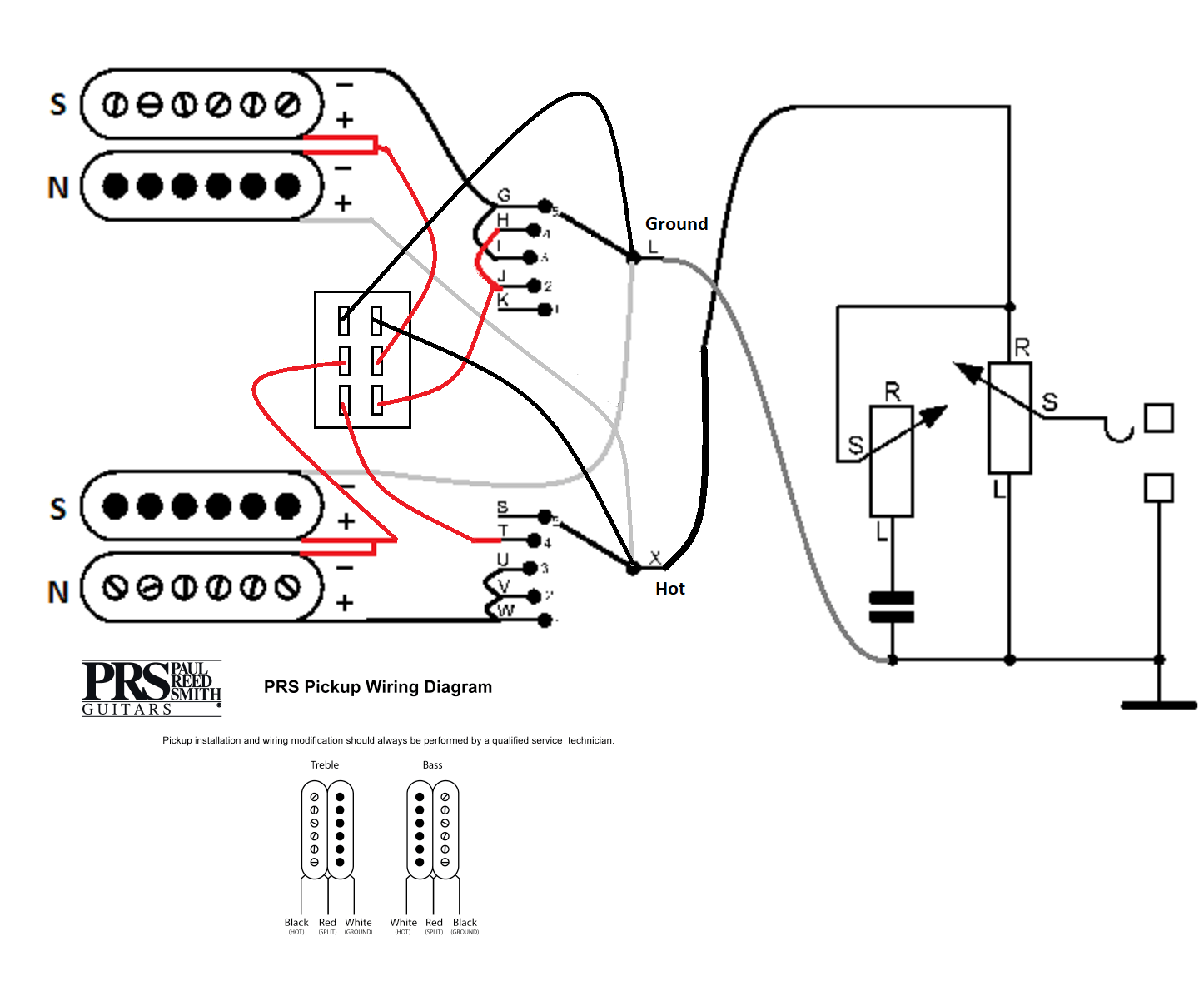 prs custom 24 wiring diagram with push pull