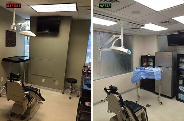 Tech Track Lighting Fixtures Led Flat Panels Light Up Dental Surgery Room In Raleigh
