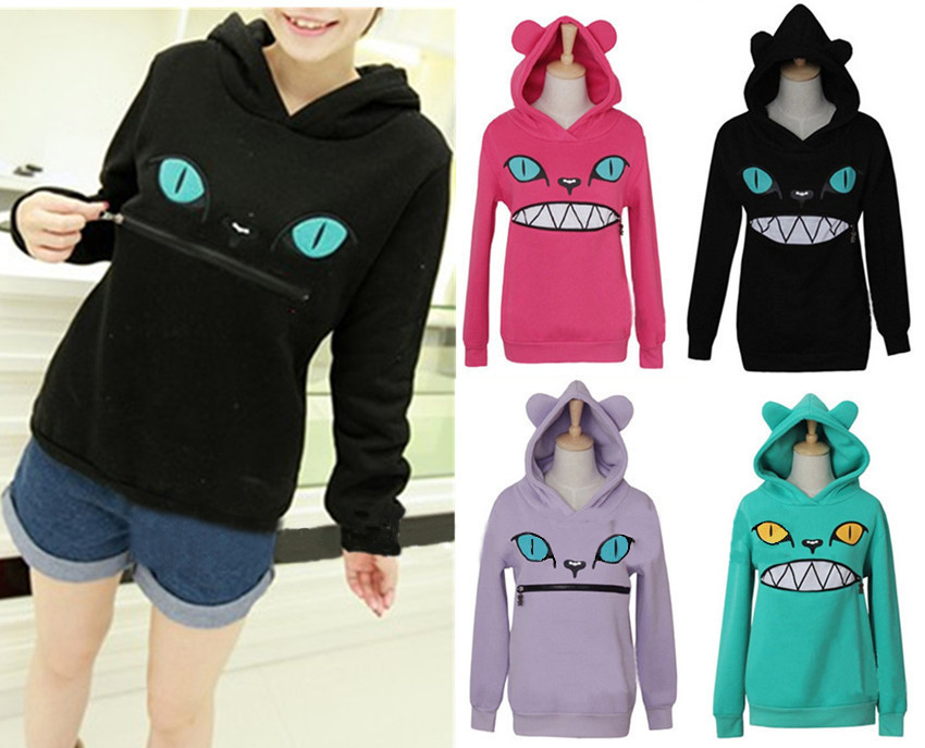 Kawaii Clothing Sudadera Boca Gato Cat Mouth Hoodie