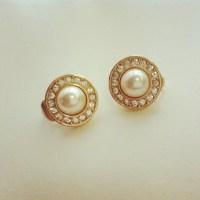 CHRISTIAN DIOR Faux Pearl & Rhinestone Earrings on Storenvy