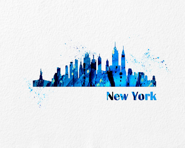 Watercolor Art Cityscape New York gift Modern 8x10 Wall