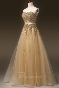 Gold Tulle Sweetheart Beaded A Line Formal Prom Dress ...