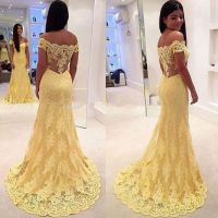 Yellow prom dress,A-line Lace long prom dresses,formal ...