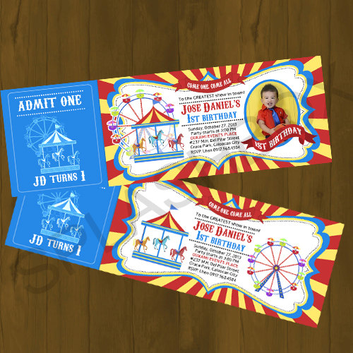 Carnival Ticket Invitation Amusement Park with carousel Printable
