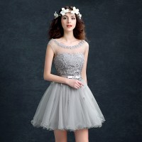 Little Cute | Grey A-line round neck sequins short prom ...