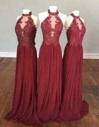 Halter High Neck Burgundy Bridesmaid Dresses,Chiffon ...
