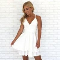 Spaghetti Straps V Neck Short White Homecoming Dress ...