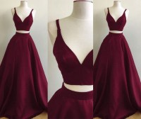 Burgundy Two-Piece Prom Dresses Straps Sleeveless Puffy A ...