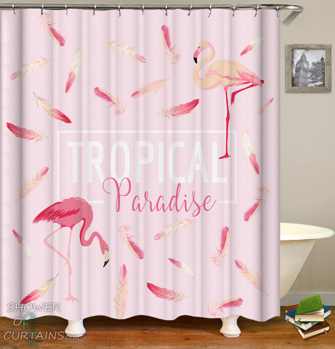 Buy Shower Curtains Online Pink Tropical Paradise Flamingo Shower Curtain Hxtc0590 From Shower Of Curtains