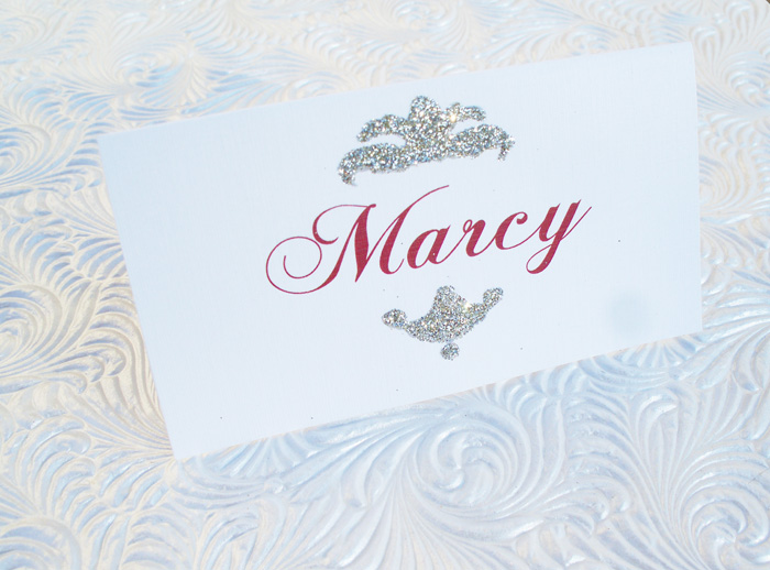 Glitter Accented Laser Printed Tent Style Place Cards--Glittered