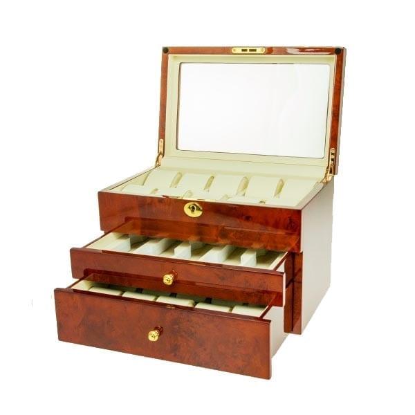 Luxury Wooden Watch Box Gloss Burlwood Display Storage