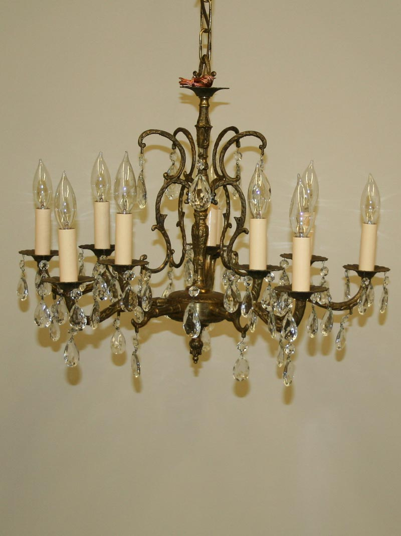 Spanish Chandelier Ten Light Cast Brass Spanish Chandelier W Almond Shaped Crystal C 1950