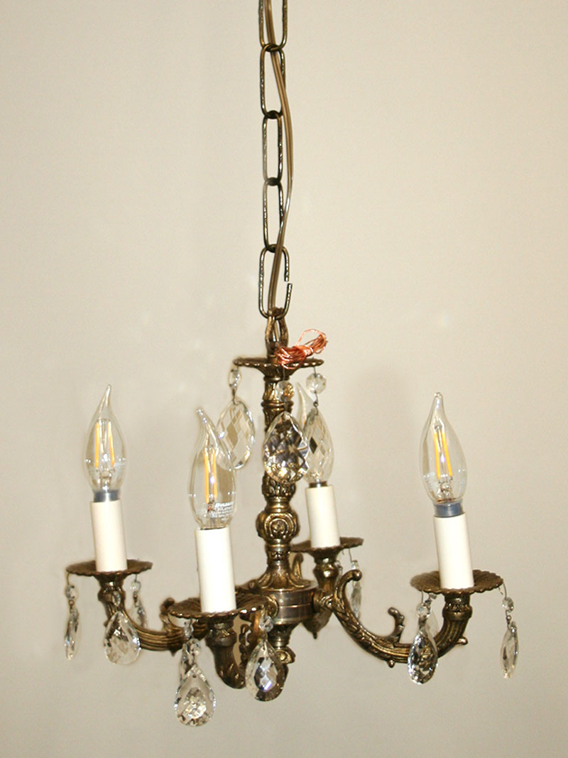 Spanish Chandelier Small Vintage 4 Lt Spanish Brass Crystal Chandelier C 1950