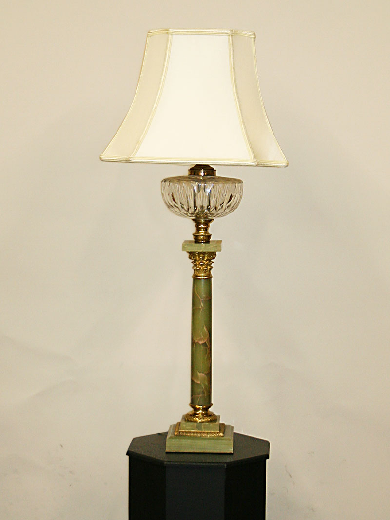 Vintage Table Lamps Vintage Green Onyx Pillar Table Lamp W Brass Accents C 1930