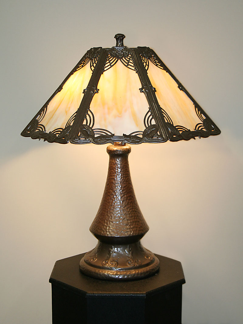 Glass Lamp Art Art Noveau Slag Glass Lamp W Morning Glory Motif Metal Overlay Frame Faux Hammered Base C Early 1900 S