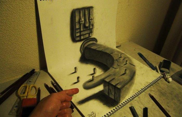 3D рисунки листах бумаги