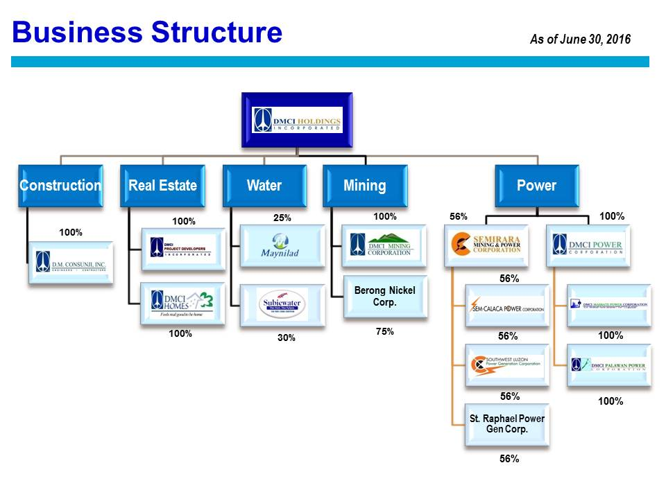DMCI Holdings Inc - business organizational chart