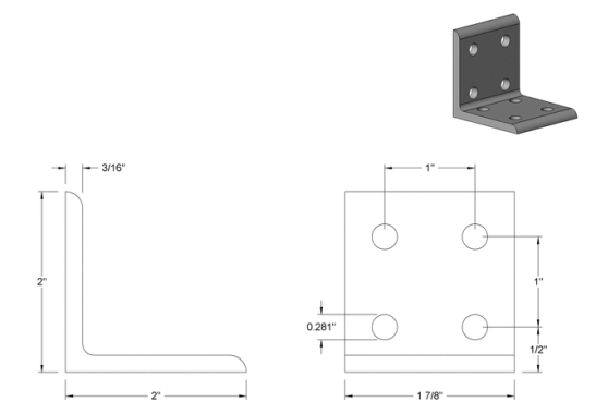 Technical Drawing of L-Bracket