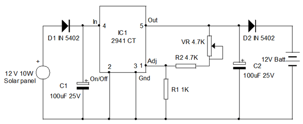 voltage regulator circuit using lm2941ct