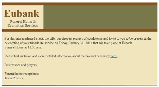 A Funeral Notice by Email -Virus! - Truth or Fiction?