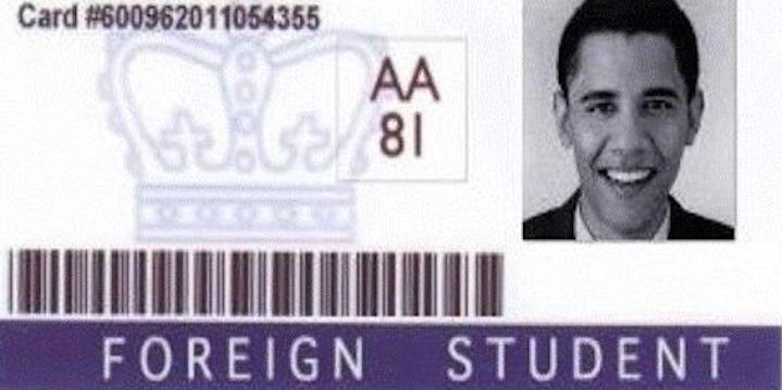 The Foreign Student Identification Card of Barry Soetoro-Fiction