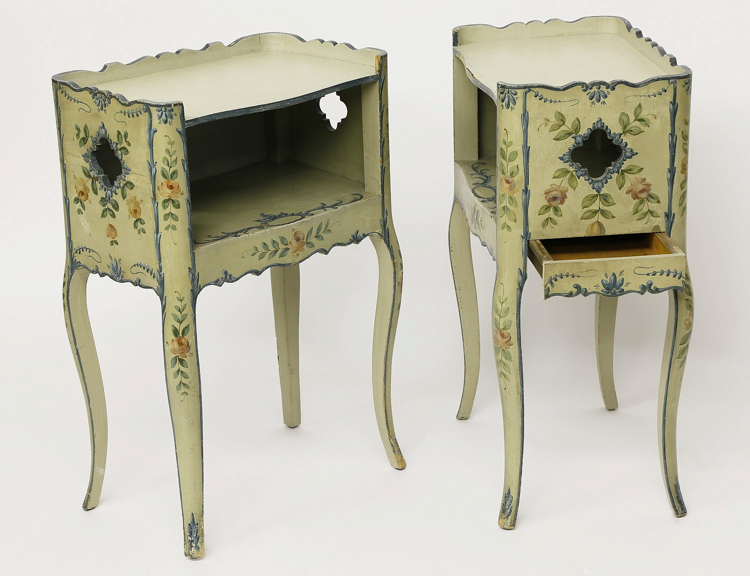 French Provincial Pair Of Hand Painted French Provincial Telephone Side Tables Rafael Osona Auctions Nantucket Ma