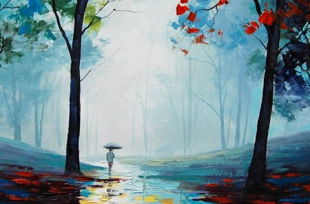 Beautiful Fall Paintings Wallpapers Lonely Walk Into Forest Other Amp Nature Background