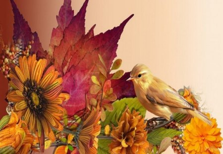 Fall Sunflowers Wallpaper Autumn Leaves And Bird Birds Amp Animals Background