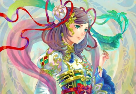 Cute Chinese Girl Wallpaper Green Phoenix Other Amp Anime Background Wallpapers On