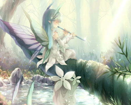 Girl Playing In Water Wallpaper Fairy Flute Other Amp Anime Background Wallpapers On