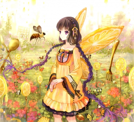 Curly Girl Wallpaper Orange Butterfly Other Amp Anime Background Wallpapers On