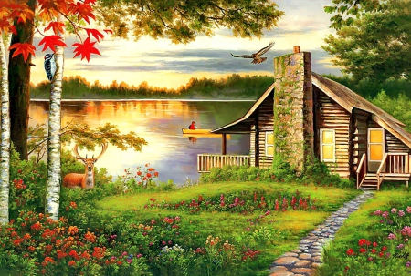 Beautiful Fall Paintings Wallpapers Misty Lake Cottage Other Amp Abstract Background