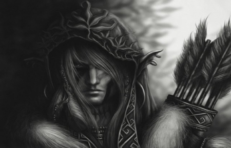 Grayscale Girl Wallpaper Wood Elf Fantasy Amp Abstract Background Wallpapers On