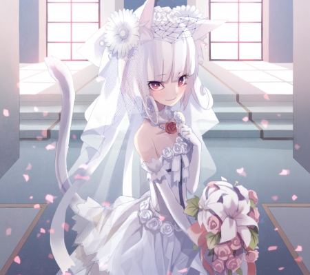 Anime Girl Cat Ears And Roses Wallpaper Beauty Neko Bride Other Amp Anime Background Wallpapers On