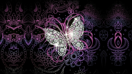Black Rose 3d Wallpaper Diamond Butterfly 3d And Cg Amp Abstract Background